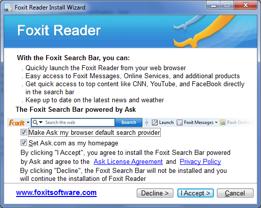 Foxit Reader Installationsfenster