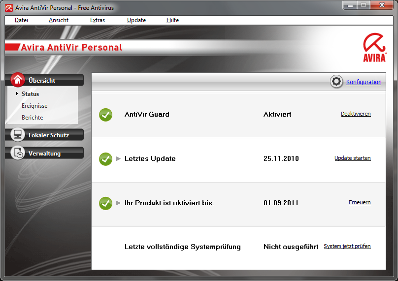 Avira AntiVir-Hauptfenster