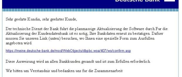 Beispiel für eine Phishing Mail