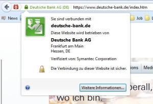 Sicherheitszertifikat Deutsche Bank