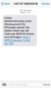 Avast iPhone Scam Gewinnbenachrichtigung