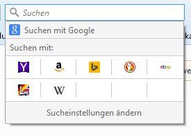 Firefox Sucheinstellungen