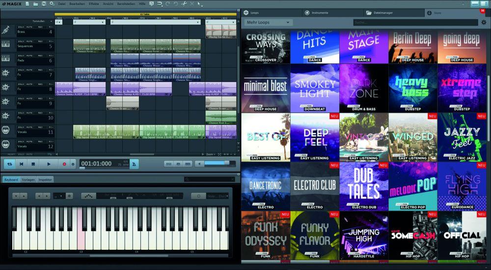 Magix Music Maker Benutzeroberfläche