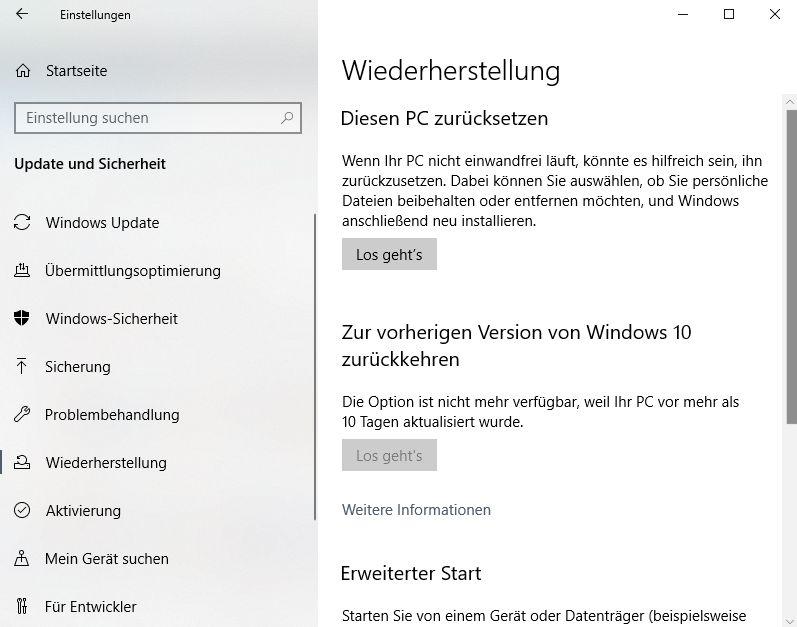 Windows 10 Wiederherstellen